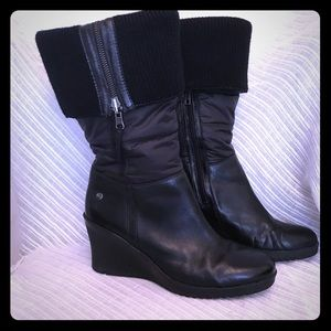 UGG Black Leona Wedge Quilted Boots